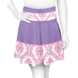 Pink, White & Purple Damask Skater Skirt (Personalized)