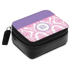 Pink, White & Purple Damask Small Leatherette Travel Pill Case (Personalized)