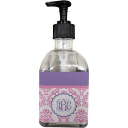 Pink, White & Purple Damask Soap/Lotion Dispenser (Glass) (Personalized)