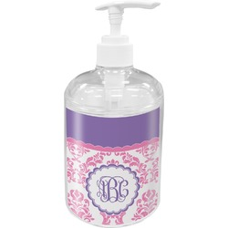 Pink, White & Purple Damask Soap / Lotion Dispenser (Personalized)