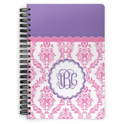 Pink, White & Purple Damask Spiral Bound Notebook (Personalized)