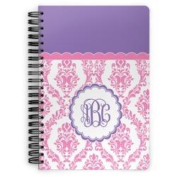 Pink, White & Purple Damask Spiral Notebook (Personalized)
