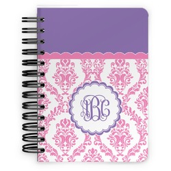 Pink, White & Purple Damask Spiral Bound Notebook - 5x7 (Personalized)