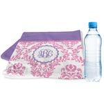 Pink, White & Purple Damask Sports & Fitness Towel (Personalized)
