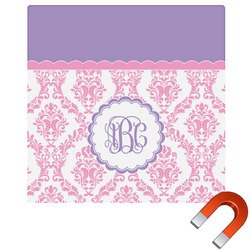 Pink, White & Purple Damask Square Car Magnet (Personalized)