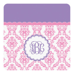 Pink, White & Purple Damask Square Decal (Personalized)