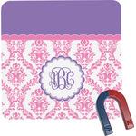 Pink, White & Purple Damask Square Fridge Magnet w/ Monogram