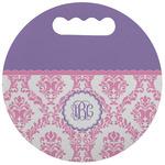 Pink, White & Purple Damask Stadium Cushion (Round) (Personalized)