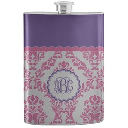 Pink, White & Purple Damask Stainless Steel Flask (Personalized)