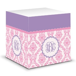 Pink, White & Purple Damask Sticky Note Cube (Personalized)