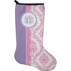 Pink, White & Purple Damask Christmas Stocking - Neoprene (Personalized)