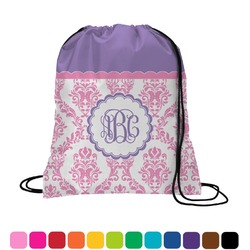 Pink, White & Purple Damask Drawstring Backpack (Personalized)