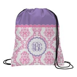 Pink, White & Purple Damask Drawstring Backpack (Personalized)