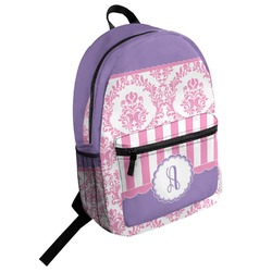 Pink, White & Purple Damask Student Backpack (Personalized)