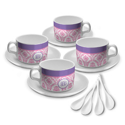 Pink, White & Purple Damask Tea Cup - Set of 4 (Personalized)