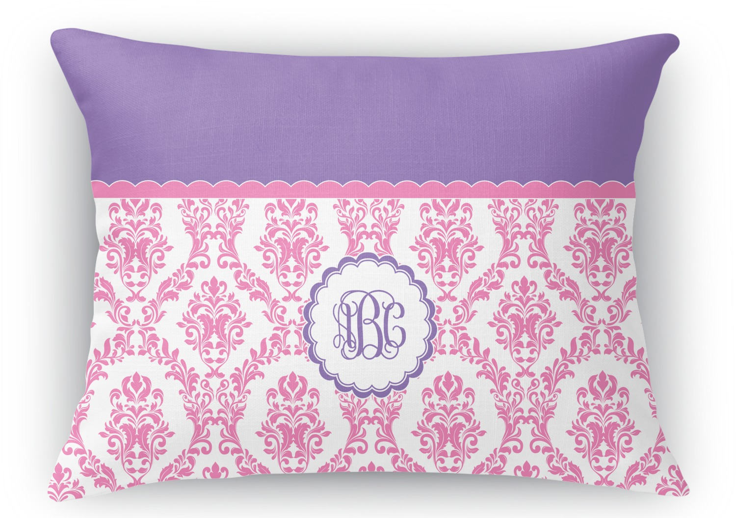 Purple And White Decorative Pillows : Pink, White & Purple Damask Rectangular Throw Pillow - 18 ...
