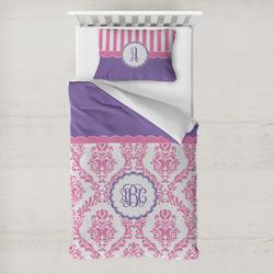 Pink, White & Purple Damask Toddler Bedding w/ Monogram