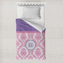 Pink, White & Purple Damask Toddler Duvet Cover w/ Monogram