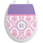 Pink, White & Purple Damask Toilet Seat Decal (Personalized)