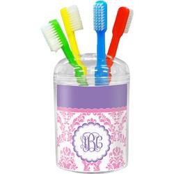 Pink, White & Purple Damask Toothbrush Holder (Personalized)
