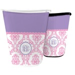 Pink, White & Purple Damask Waste Basket (Personalized)