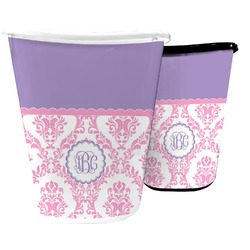 Pink, White & Purple Damask Waste Basket (Personalized)