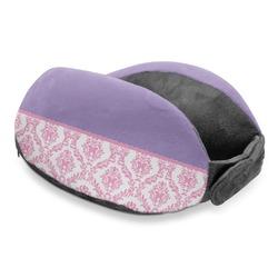 Pink, White & Purple Damask Travel Neck Pillow (Personalized)