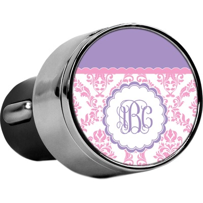 Pink, White & Purple Damask USB Car Charger (Personalized)