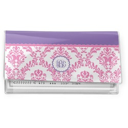 Pink, White & Purple Damask Vinyl Checkbook Cover (Personalized)