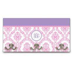 Pink, White & Purple Damask Wall Mounted Coat Rack (Personalized)