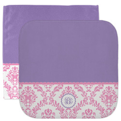 Pink, White & Purple Damask Facecloth / Wash Cloth (Personalized)