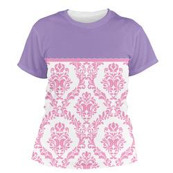 Pink, White & Purple Damask Women's Crew T-Shirt (Personalized)