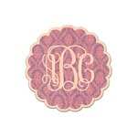 Pink, White & Purple Damask Genuine Maple or Cherry Wood Sticker (Personalized)