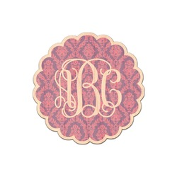 Pink, White & Purple Damask Genuine Wood Sticker (Personalized)