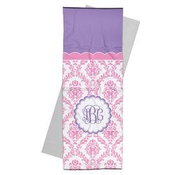 Pink, White & Purple Damask Yoga Mat Towel (Personalized)
