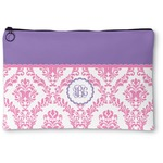 Pink, White & Purple Damask Zipper Pouch (Personalized)