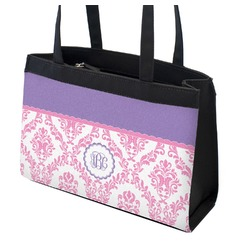 Pink, White & Purple Damask Zippered Everyday Tote (Personalized)