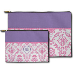 Pink, White & Purple Damask Zipper Pouch (Personalized)