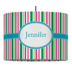 Grosgrain Stripe Drum Pendant Lamp (Personalized)