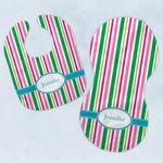 Grosgrain Stripe Baby Bib & Burp Set w/ Name or Text