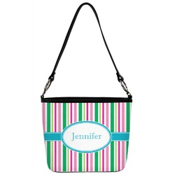 Personalized Front Teal Circles /& Stripes Hobo Purse w//Genuine Leather Trim