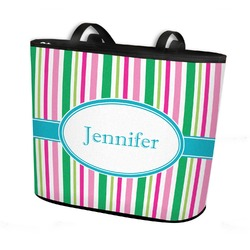 Grosgrain Stripe Bucket Tote w/ Genuine Leather Trim (Personalized)