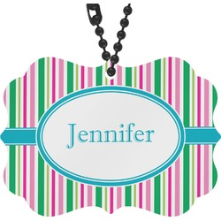 Grosgrain Stripe Rear View Mirror Decor (Personalized)