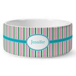 Grosgrain Stripe Ceramic Dog Bowl (Personalized)