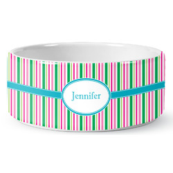Grosgrain Stripe Ceramic Pet Bowl (Personalized)
