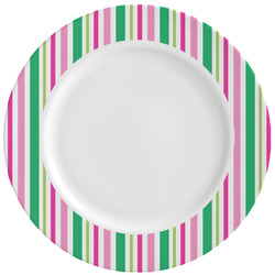 Grosgrain Stripe Ceramic Dinner Plates (Set of 4) (Personalized)