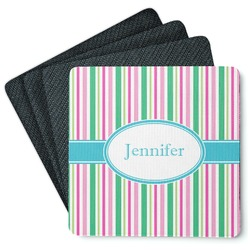 Grosgrain Stripe 4 Square Coasters - Rubber Backed (Personalized)