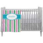 Grosgrain Stripe Crib Comforter / Quilt (Personalized)