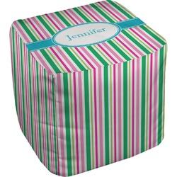 Grosgrain Stripe Cube Pouf Ottoman (Personalized)