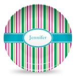 Grosgrain Stripe Microwave Safe Plastic Plate - Composite Polymer (Personalized)